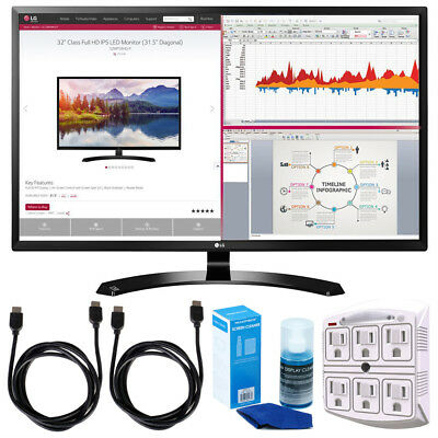 LG 32-Inch IPS Monitor with Display Port and HDMI Inputs w/ Accessories Bundle