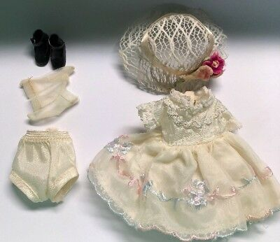"""Betsy McCALL 8"""" Doll White Birthday Party Dress Panties Hat ChunKy Socks & Shoes"""