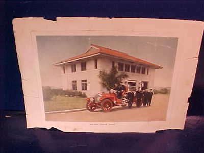 2 Orig 1918 PANAMA CANAL Zone FIRE DEPARTMENT PHOTOS w Truck Firehouse