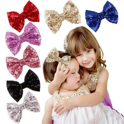 4.7 inch Lovely Sequin Hair Bow Alligator Clips Headwear Girls Hair Accessories