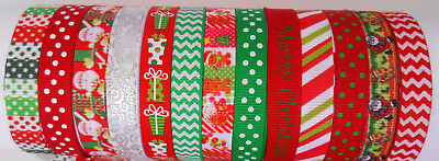 "13 Yards CHRISTMAS BUNDLE  9mm 3/8""  Grosgrain Ribbon  gift wrap tag card hair"