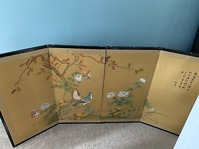 4 panel painted screen Japanese, good condition , silk painting