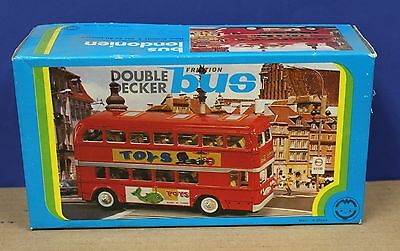 """Early China MF-844 Tin Friction Double Decker Bus 8"""" MIB Boxed 80s Red"""