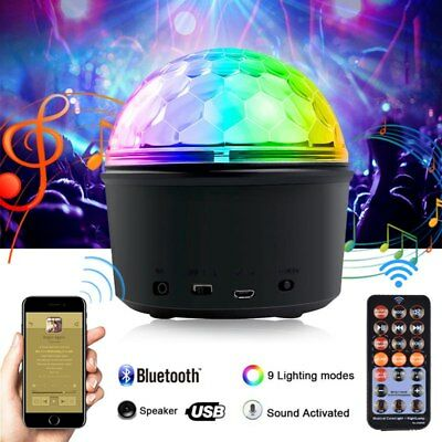 Portable Mini LED Disco Ball Lights Bluetooth Speaker USB 9 Color Stage Party