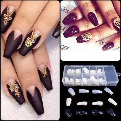 New 100/600pcs Long Ballerina Coffin Shape Full Cover False Fake Nails Art Tips