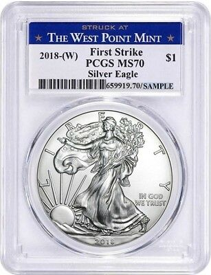 2018-(W) SILVER EAGLE $1 FIRST STRIKE PCGS MS70 West Point Mint Label