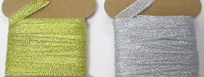 "3 Yards GOLD OR SILVER METALLIC christmas  3/8"" 9mm  Grosgrain Ribbon  Card Gift"