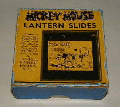 1920s OR 30s WALT DISNEY MICKEY MOUSE MAGIC LANTERN SLIDES COMPLETE IN THE BOX