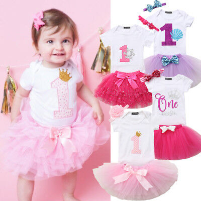 UK Stock Baby Girl Birthday Dress Rompers Tutu Skirt Headband Outfit Clothes Set