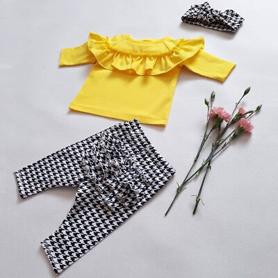 UK 3Pcs Toddler Kids Baby Girl Ruffle Plaid Tops Pants Leggings Outfits Clothes
