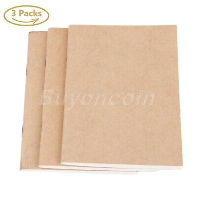 UK 3/6 Sets 100gsm Blank Paper Refill Passport Travel Journal Diary Note Books