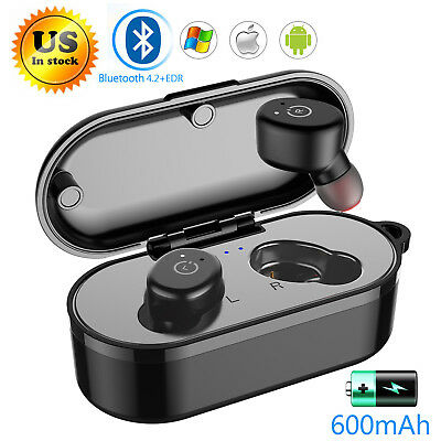 Bluetooth 5.0 Wireless Earbuds IPX8 Waterproof+Portable Charging Box For iPhone