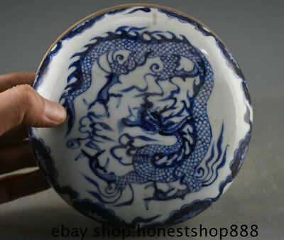 "6.2"" Collect Old China Blue White Porcelain Dynasty Palace Dragon Jewelry Box"