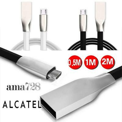 FOR Alcatel Phones Zinc Alloy 3D Flat Micro USB Charging data Sync Charger Cable