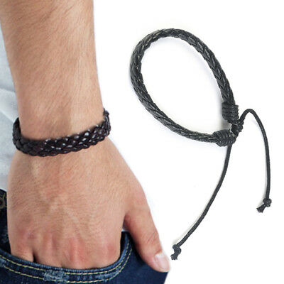 Mens Boys Leather Braided Wristband Bracelet Accessories Bangle Wrap Black