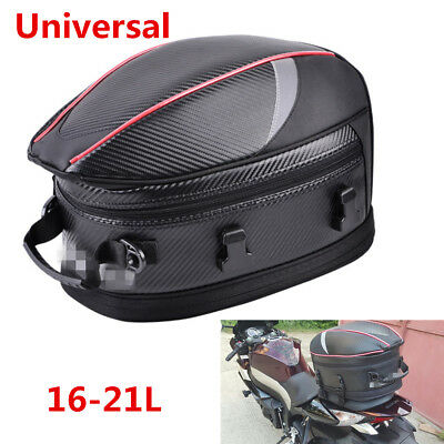 16-21L PU Leather&Carbon Fiber PVC Fabric Motorcycle Tail Bags Back Seat Bag Kit