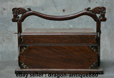 "15"" Rare Old Chinese Huanghuali Wood Hand-Carving Portable Food Dim Sum Box"