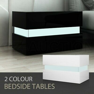 Bedside Table 2-Drawer Side Nightstand High Gloss Wood Cabinet BK/WH w/RGB LED