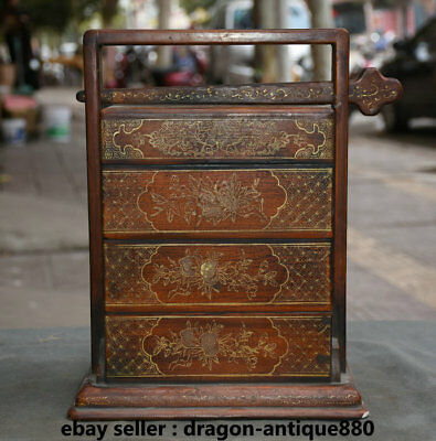 "12"" Old Chinese lacquerware Wood Carving Portable 4 Drawer Food Dim Sum Box"