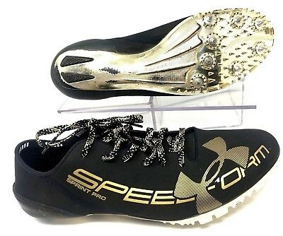 edba85f96a91 Under Armour Speedform Sprint Pro Size 10 Black and Gold Track Spikes
