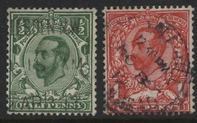 1912 ½d & 1d DOWNEY HEAD CYPHER UPRIGHT WMK VERY FINE USED PAIR. SG 335/336