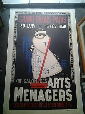 Affiche Ancienne Grand Palais Arts Menagers Paris D'ornelas 1936