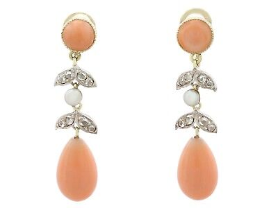 Antique Victorian Diamond & Pink Coral Seed Pearl & 15k Yellow Gold Drop Earring