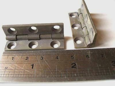Pair, large solid brass stop hinges, antique caddy, box, H1-44