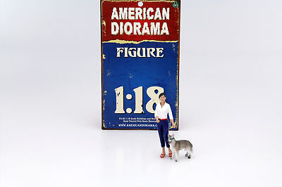 Woman with Dog Figure Set 1:18 American Diorama