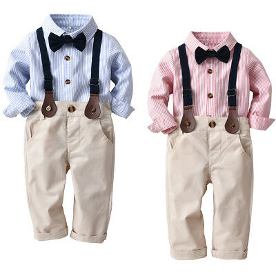 3pcs Kids Baby Boy Gentleman Shirt Tops+Strap Pants Trousers Clothes Outfits Set