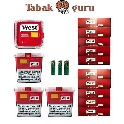 4 x West Tabak / Volumentabak Mega Box 290 g, 2.000  West Rot Hülsen, Feuerzeuge