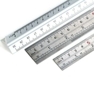 "3Pc 6"" 12"" & SCALE RULER Stainless Steel Metal Triangular Measure Rule 15cm 30cm"