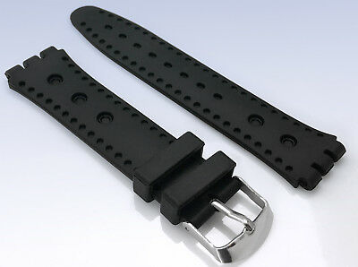 e5800ecea66 19mm Perforated Black Silicone Rubber Watch Strap Band w Swatch Connection  End