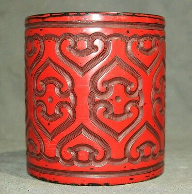 """6"""" Qianlong Marked Rare Chinese Red Lacquerware Dynasty Pencil Vase Brush Pot S"""