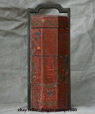 """15.6"""" Old Chinese Wood Lacquerware Painting Dynasty Dragon Portable Food Box"""