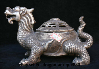"""11"""" Old China Silver Dynasty Dynasty Dragon Tortoise Turtle Statue Pot Censer"""