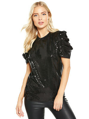 V by Very Ruched Sleeve Sequin Top