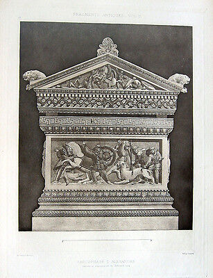 29 ~ ALEXANDER THE GREAT SARCOPHAGUS Istanbul 1905 Architecture Detail Art Print