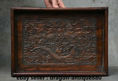 """14"""" Rare Old Chinese Huanghuali Wood Dynasty Palace Dragon Plate Tray Dish"""