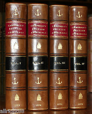 1779 Lives of the British Admirals John Campbell 4 Volumes 6 Maps Navy Naval