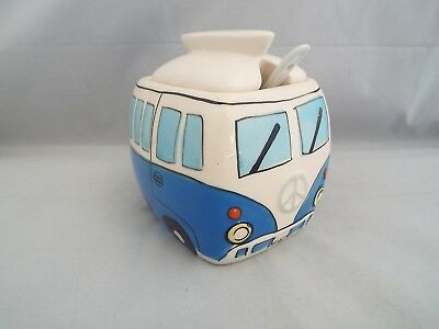 Novelty Ceramic Blue Camper Van Sugar Bowl With Lid & Spoon