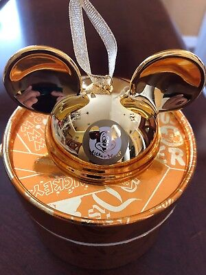 Disney World 2018 Mickey Mouse Club GOLD Ear Hat Boxed Ornament Limited Ed 2000