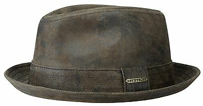 Stetson Leather Pork Pie Hat Hats Player Radcliff 63 Brown Antique S - XXL 019a5fdb669d