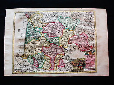 "1713 P. VANDER AA - ""amazing map"" of FRANCE, GUYENNE, GASCONY AQUITAINE PYRENEES"