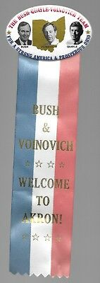 Bush, Quayle, Voinovich Ohio Coattail Pin, Welcome To Akron Ribbon