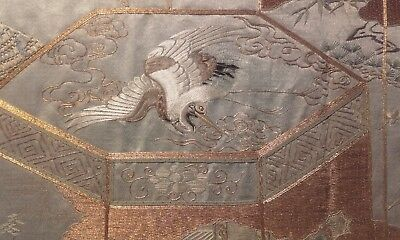 Antique Large 19thc Chinese Silk Embroidery Panel ~ Needlework Qing / Dragons