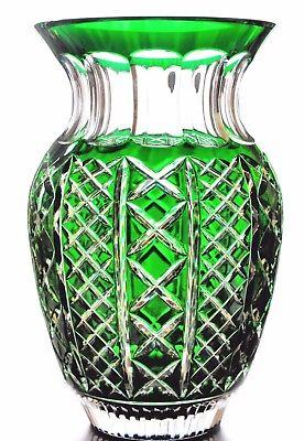 """Waterford Crystal Emerald Green Cut to Clear Fleurology Molly 12"""" Bouquet Vase"""