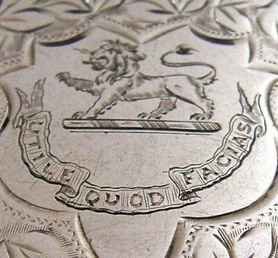 English Solid Silver Card Case 1903 Turner Family Crest Interesting Antique