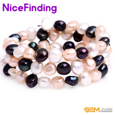 6-8mm Fashion Freshwater Pearl Bangle Bracelet Adjustable Stretch Women Jewelry