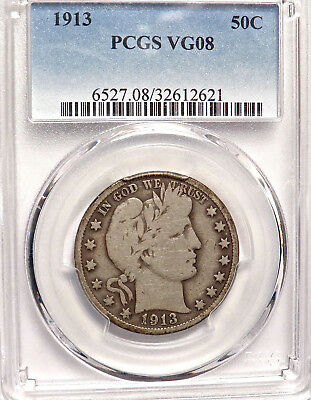 1913 BARBER HALF DOLLAR. PCGS VG08 and ATTRACTIVE APPEARANCE SCARCE DATE.